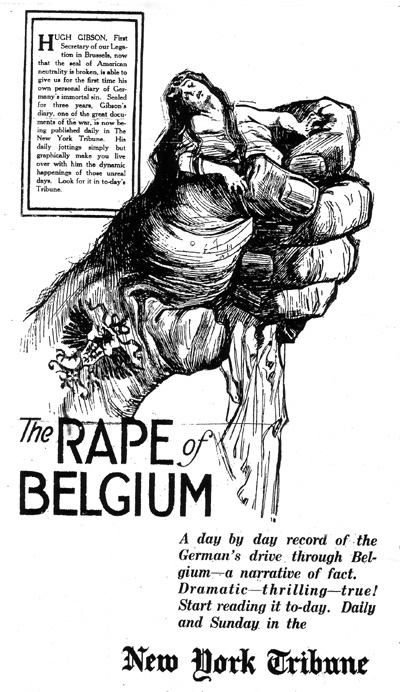 "A newspaper image of ""The Rape of Belgium"", related to the German invasion of Belgium in 1914."