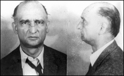 The FBI mugshot of Rudolf Abel after his arrest in 1957.