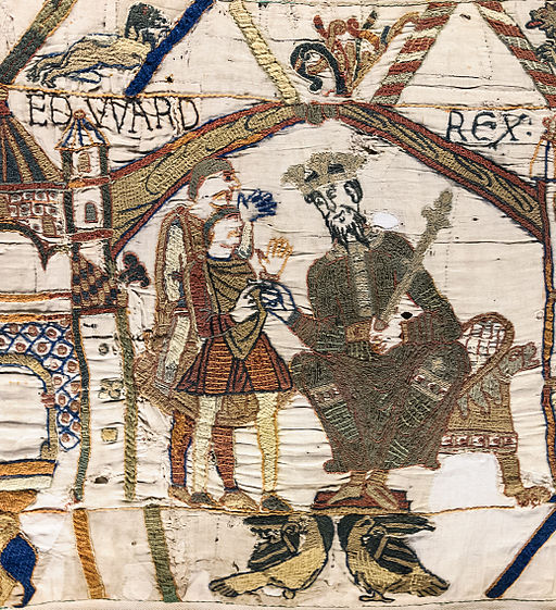 Edward the Confessor as shown on the  Bayeux Tapestry .