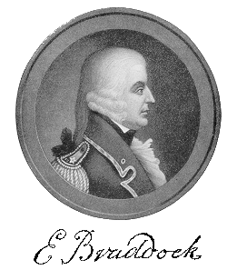A depiction of the British general, Edward Braddock, who led British and British American forces in the battle.