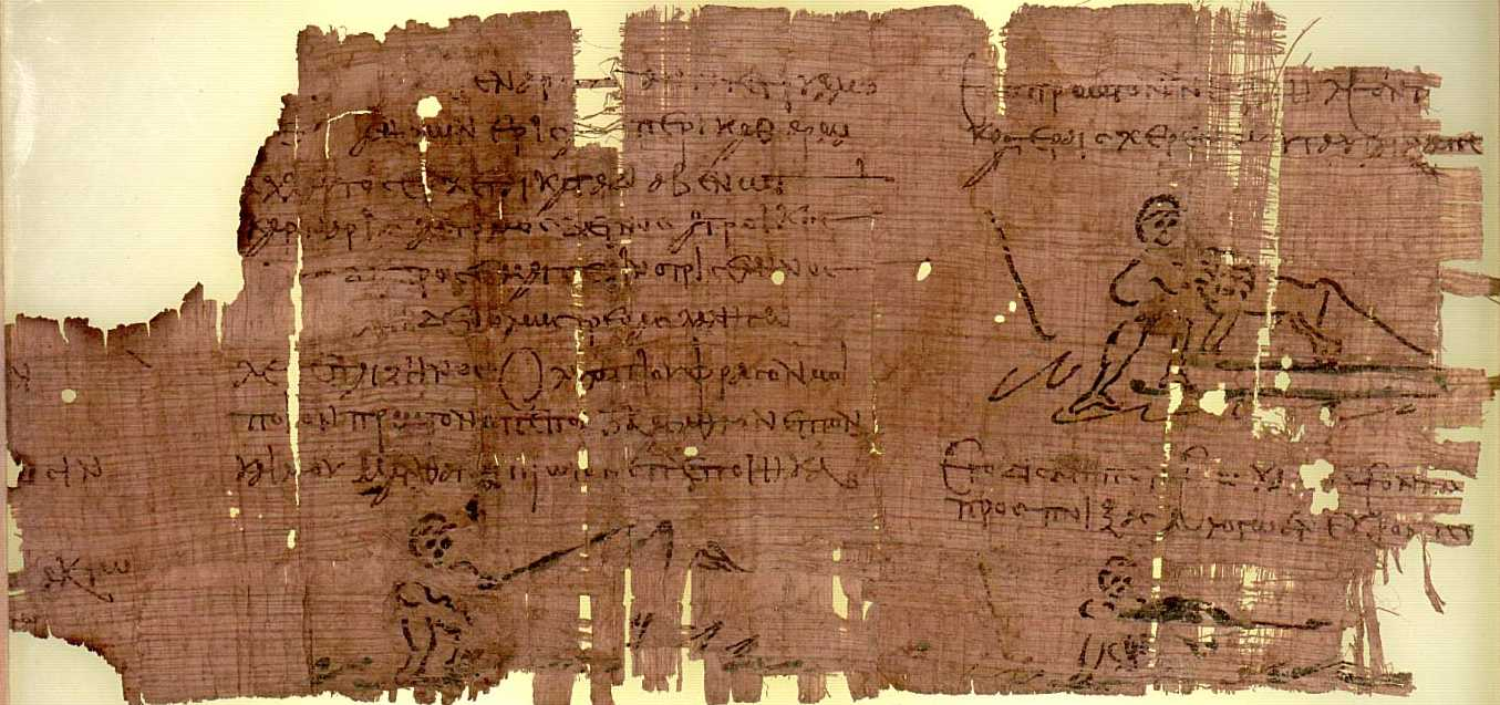 The Heracles Papyrus, containing an ancient illustration on papyrus paper.