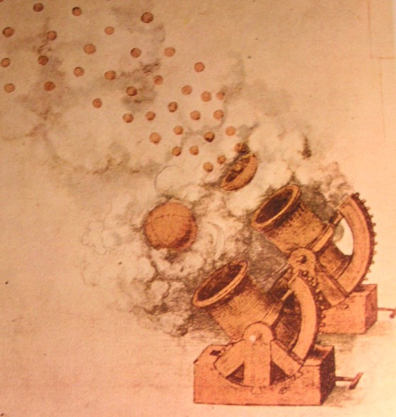 Cannons from a late 15th century/early 16th century drawing as shown in  The Life and Times of Leonardo , Paul Hamlyn.
