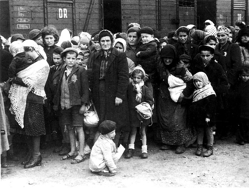 Hungarian Jews arriving at Auschwitz concentration camp in summer 1944. Source: Bundesarchiv, Bild 183-N0827-318 / CC-BY-SA 3., available  here .