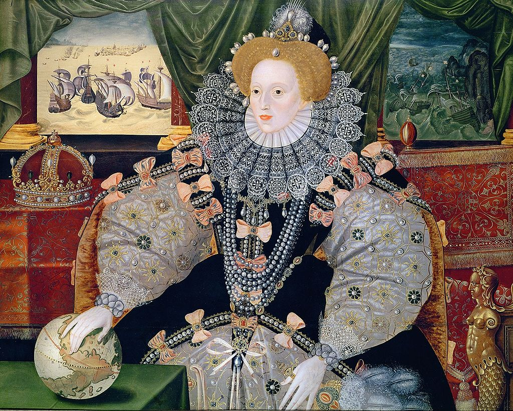 A portrait of Queen Elizabeth I of England that commemorates the 1588 English victory against the Spanish Armada.