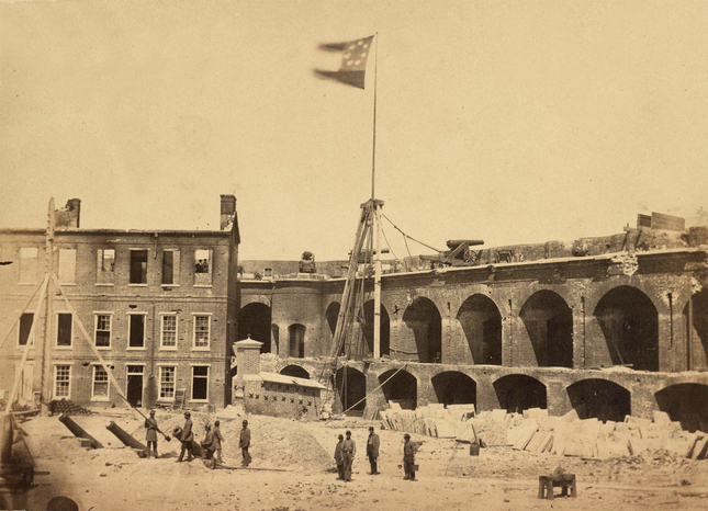 Fort Sumter in April 1861, with the Confederate flag flying.