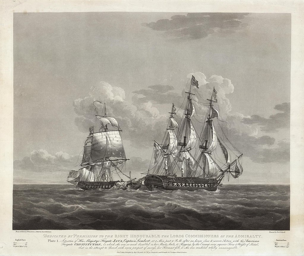 The USS Constitution and HMS Java in battle in 1812. Drawing by Nicholas Pocock.