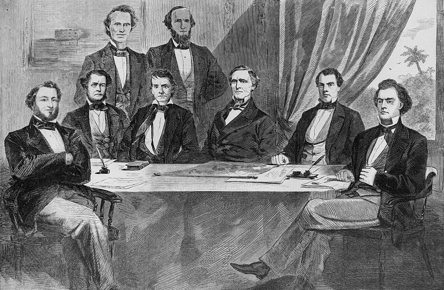 The Confederate Cabinet from  Harper's Weekly , June 1861, including Confederate President Jefferson Davis in the center-right of the picture.