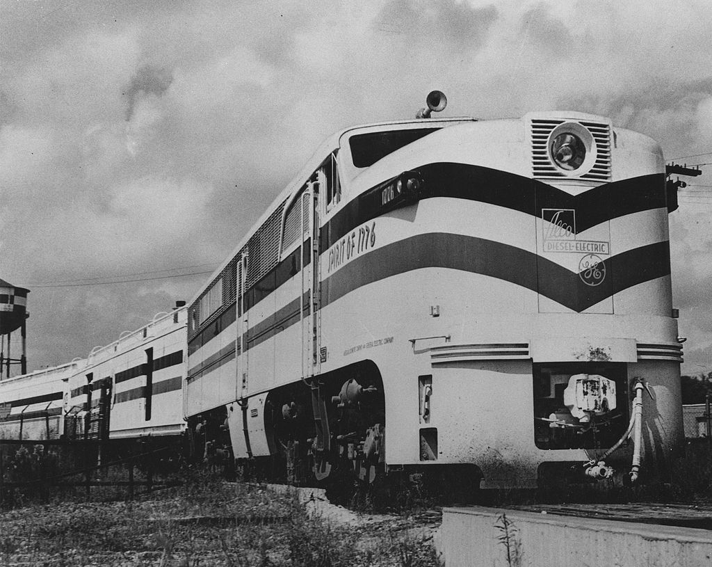 A locomotive built especially for the freedom train.