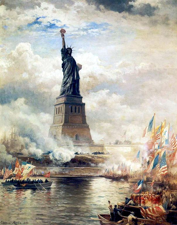 Statue of Liberty Unveiled  by Edward Moran.