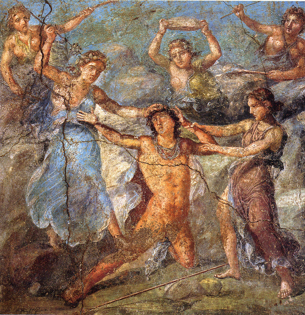 An ancient Roman painting from the House of Vettii in Pompeii, showing the death of Pentheus from Euripides' Bacchae.