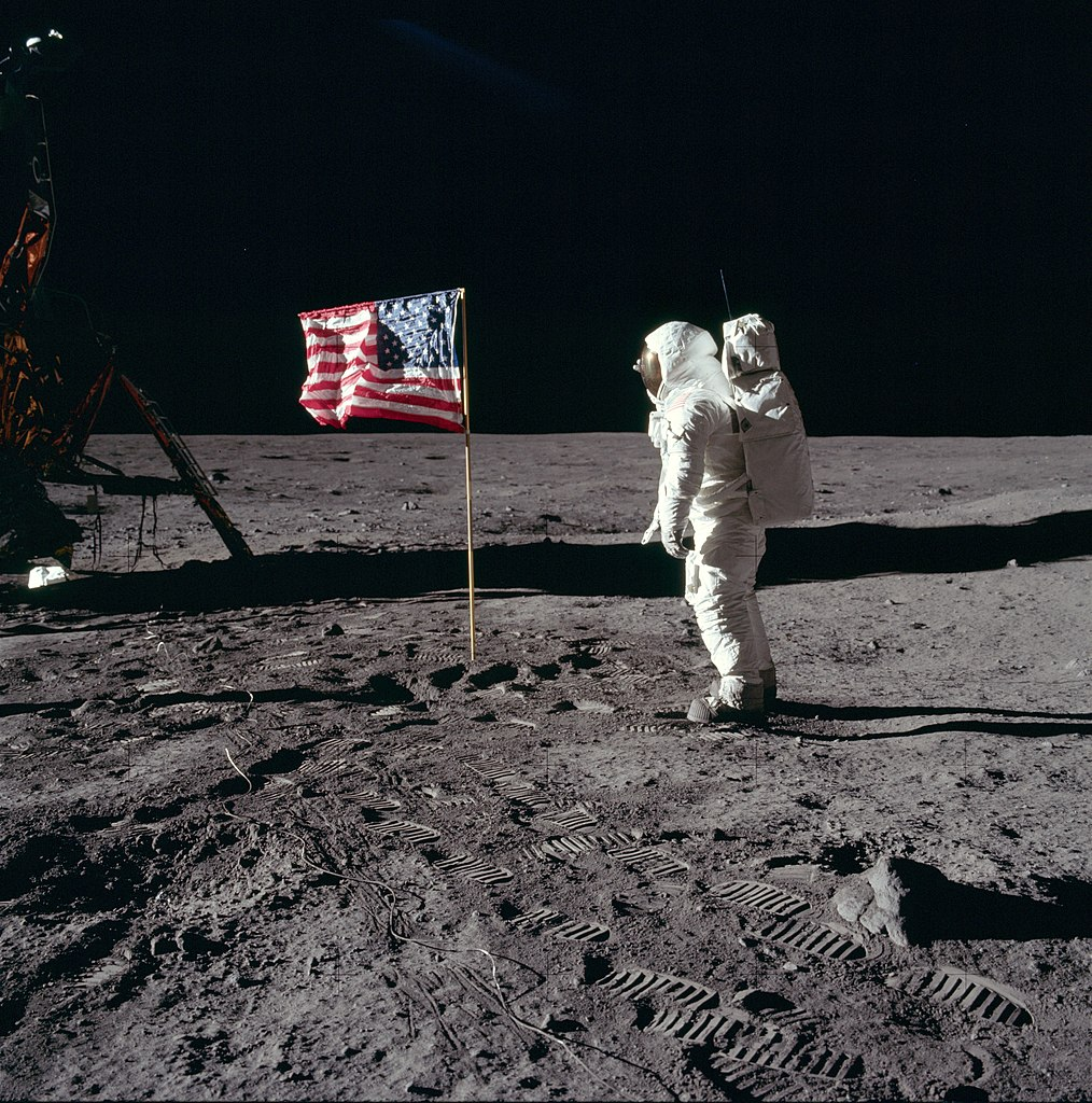Buzz Aldrin salutes the US flag during Apollo 11, on July 20, 1969.