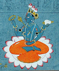 A 18th century depiction of Vishnu, one of the principal deities of Hinduism.