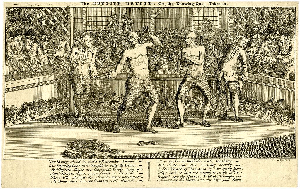 A boxing match between John Broughton and Jack Slack in the mid-18th century.