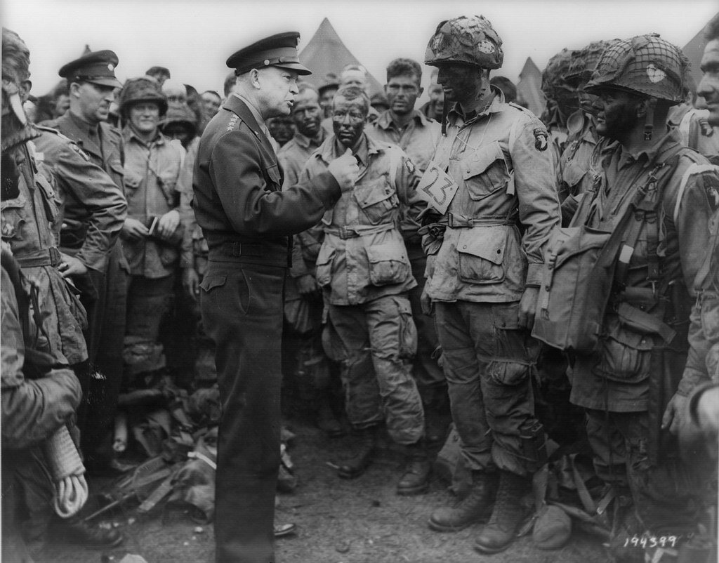 General Eisenhower addresses American troops on June 5, 1944, the day before D-Day.