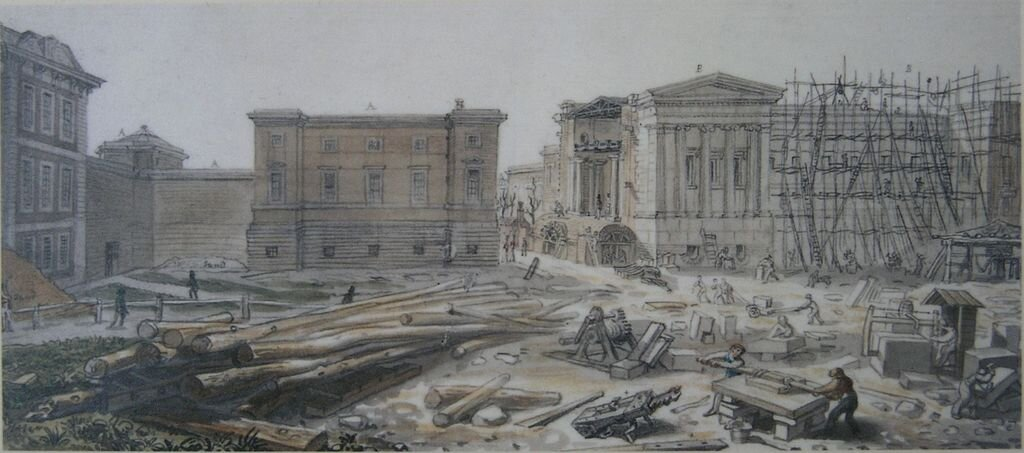 The British Museum, London, under construction in the 1820s.
