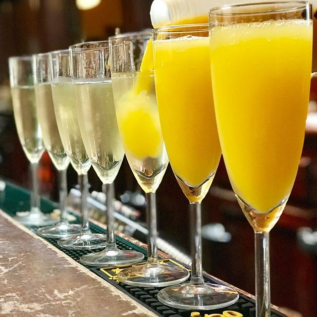 @heathervogt serving up the #mimosas this fine #Sunday #morning - serving #brunch till 3pm. #bacon #eggs #pancakes #frenchtoast #bloodymary #craftbeer #eggsbenedict