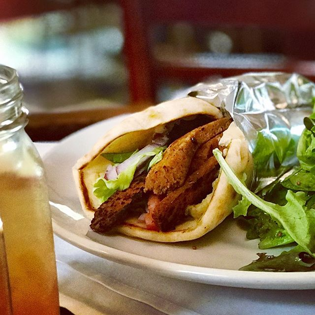 Most of the sandwiches on our menu can be made #vegetarian or #vegan by substituting our house-made #seitan for the meat protein. Picture: vegan #seitan #gyro / @vegansofwestchesterny