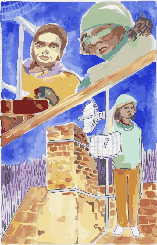 Watercolor on paper (2016)  Created for Meta Mesh, they were looking to explain the process of teaching community members how to make their own antennas without seeming too technical. This panel is features the installation of antennas.