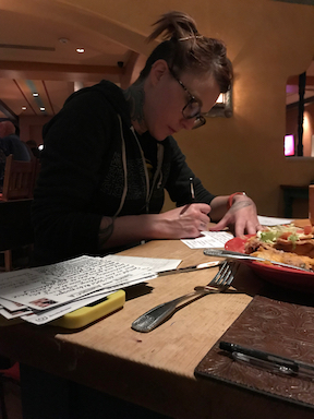 Writing inside a hotel restaurant in Albequerque, NM