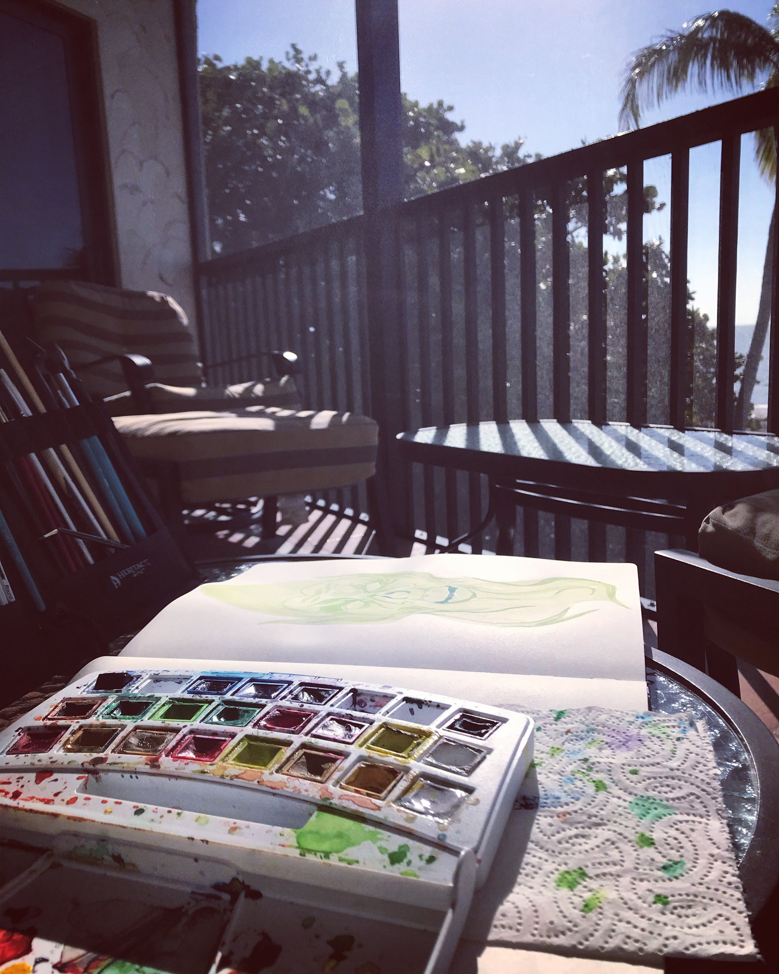 Painting on the balcony overlooking the Gulf of Mexico, January 2018.