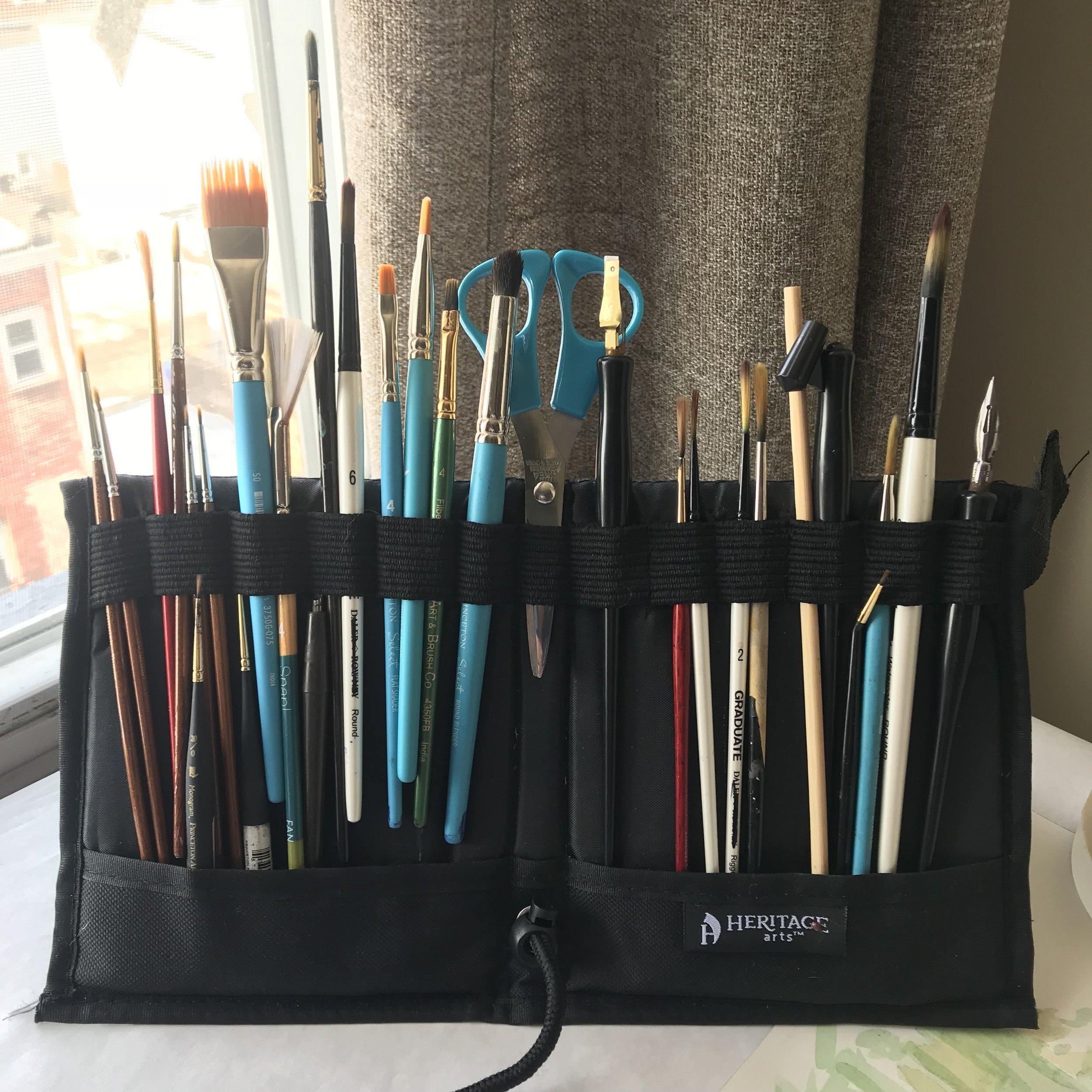 foldable paint brush holder