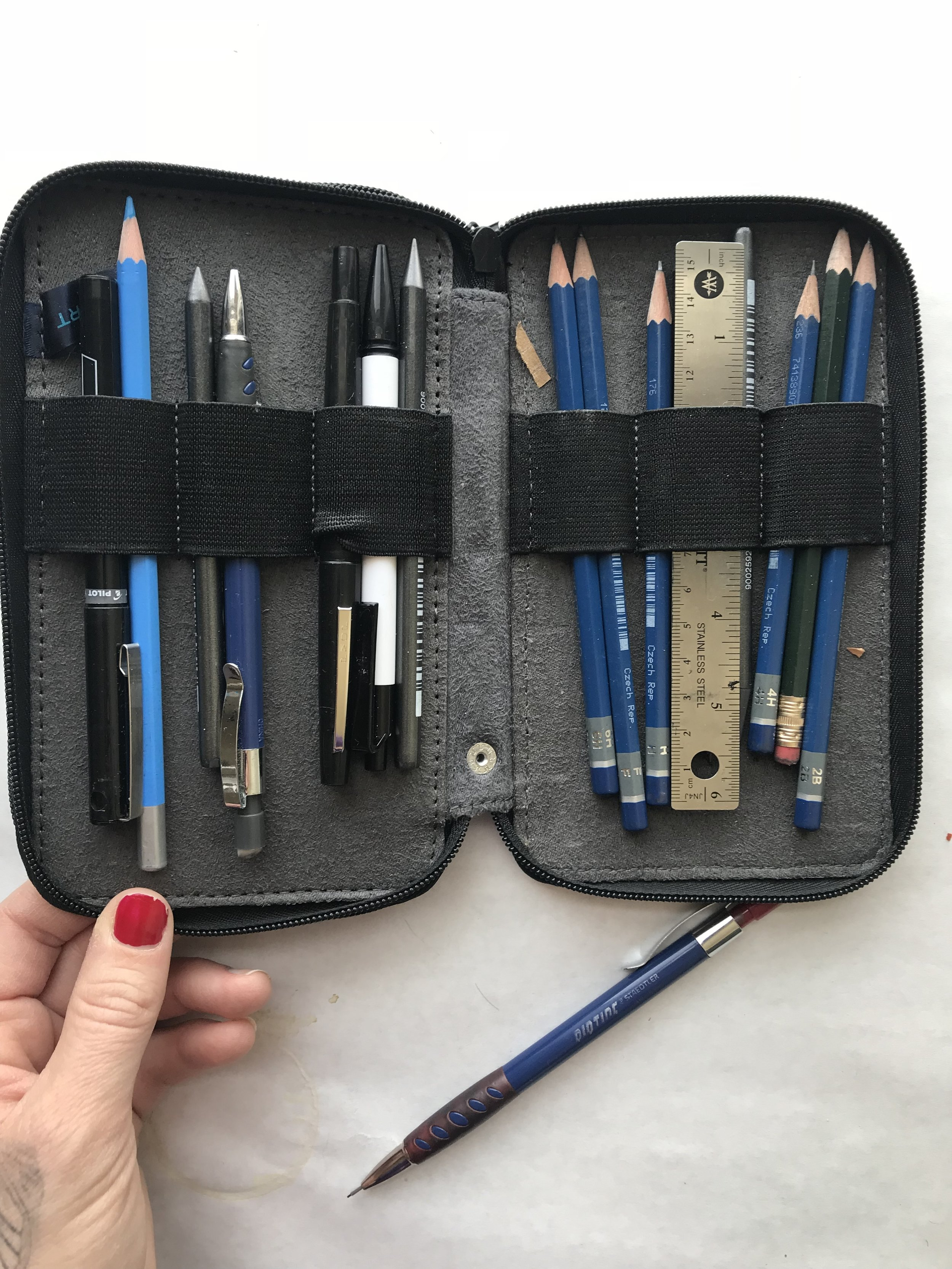two sided pencil / pen case