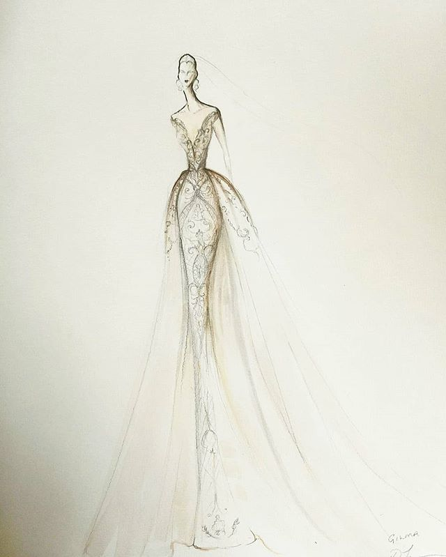 💗 G I L M A 💗 The designer's sketch for Gilma's custom Toscano Gown. The joy and absolute love of making art is in the process of making it from beginning to the end! . . . . .#designinspiration #designprocess #couturebride #toscanobride #custommade #toscanoatelier