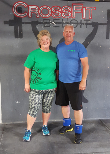 Nancy and Tim looking buff and tuff in their CFB gear