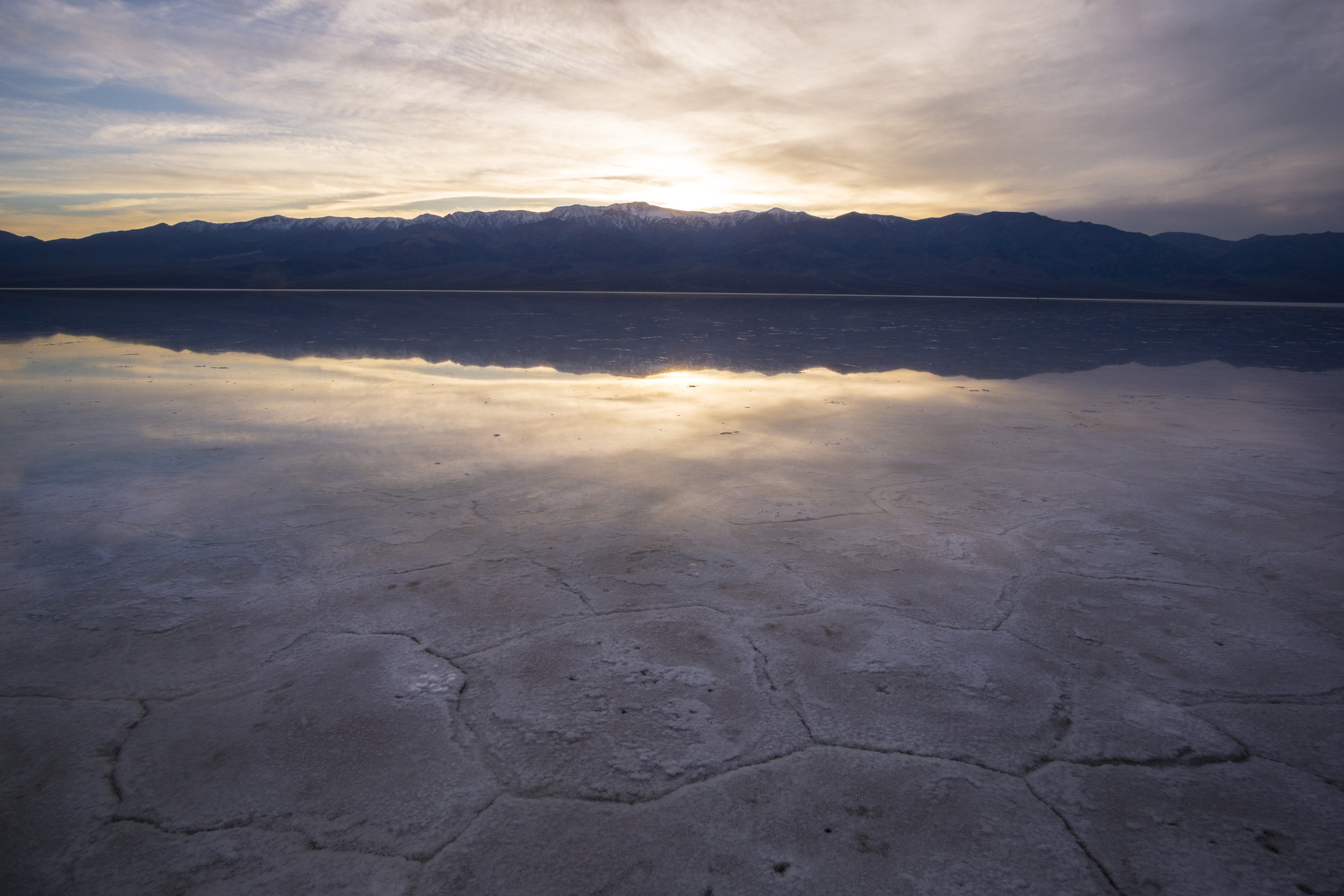 Badwater Basin in Death Valley National Park during a historic flood.