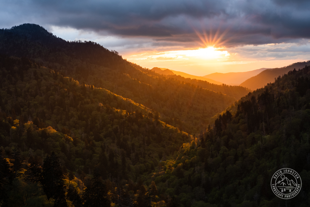 Sunset rays at Morton's Overlook in Great Smoky Mountains National Park.