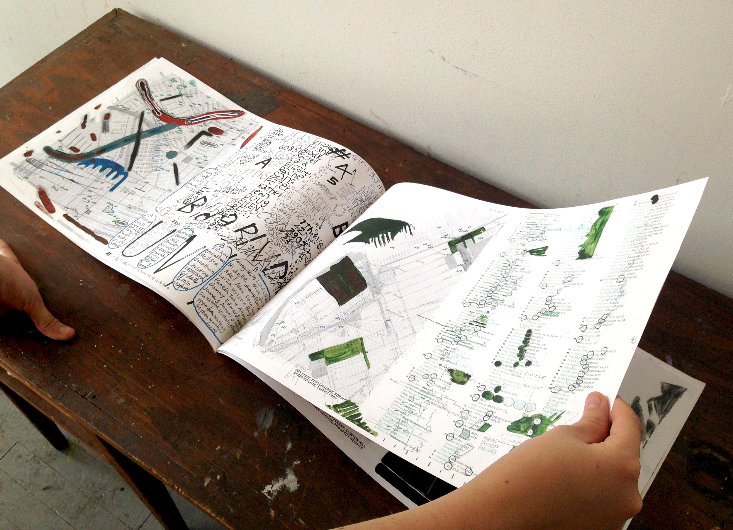"""Original drawings, scanned, printed and bound into a booklet    11 x 17""""  (when closed)"""