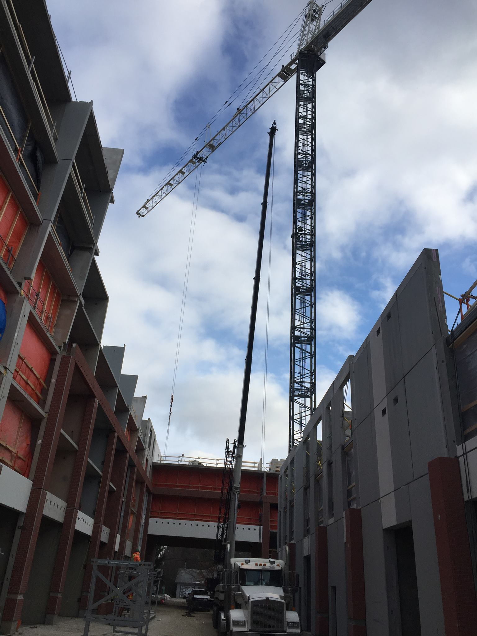 Tower crane and mobile crane lift precast cement