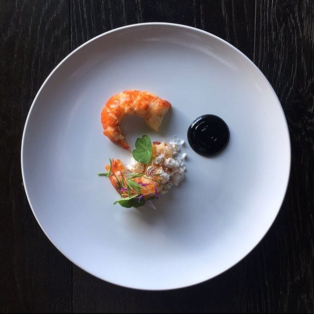 Marron, Black garlic, sea herbs, seafood oil. Such a delicate little dish and perfectly suited to these warm days.  #studioneon #studioneoncatering #marron #sydney
