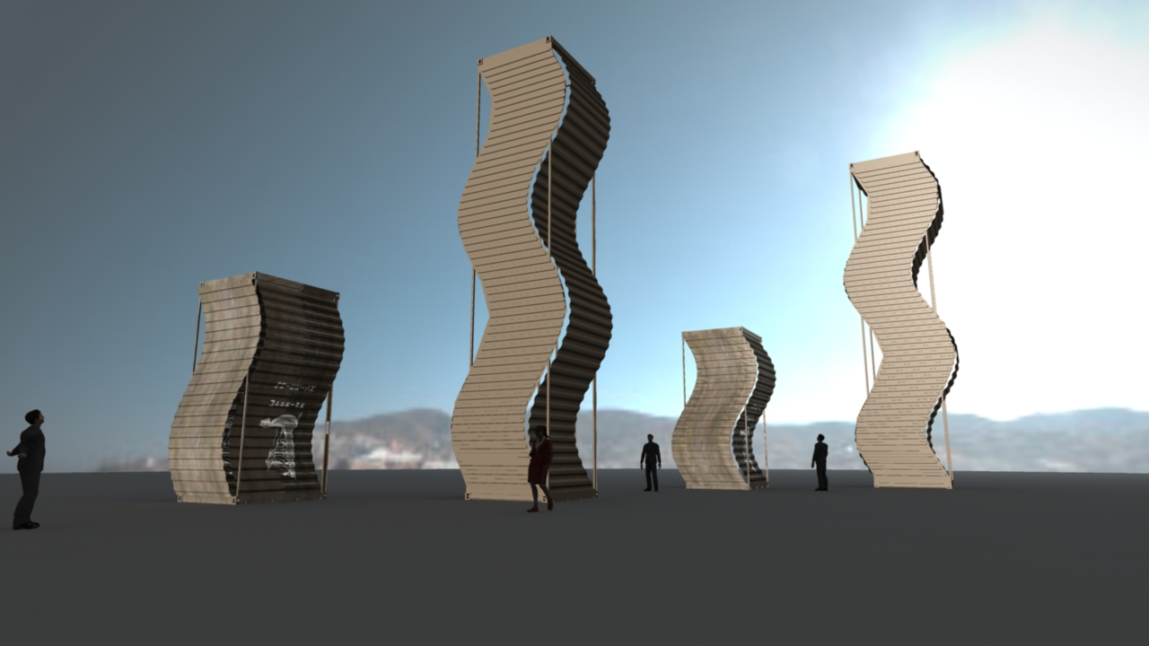 As the night went on, my designs became a little more abstract. 20ft and 40ft containers laid upright.