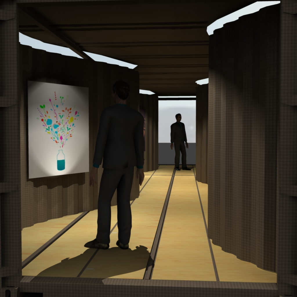 inside a 40 ft container. The frame is left untouched but the walls and ceiling are warped to give a stylized viewing area.