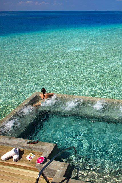 Amazing pool surrounded by saltwater, via the  Velassaru Spa,  Maldives