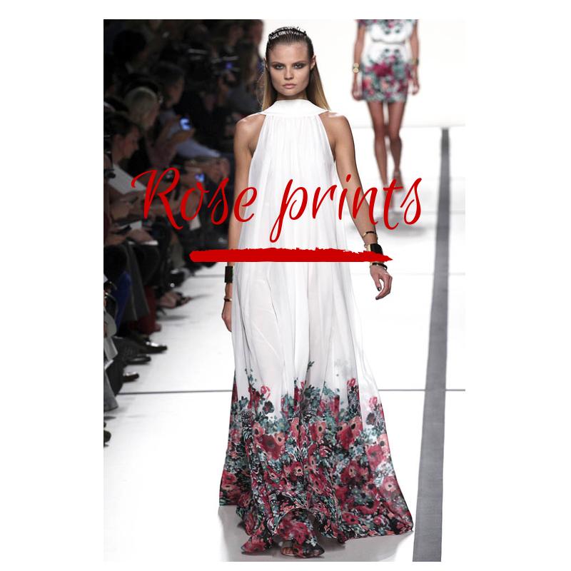 Elie Saab- white and rose print