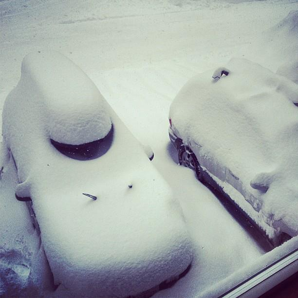 Jordan and Lauren's car's after the first night of snowfall.