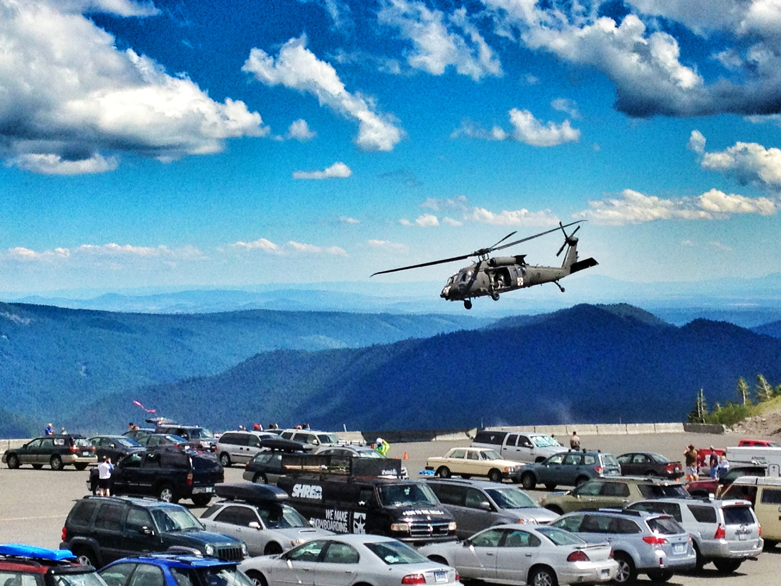 Heli taking off from the parking lot