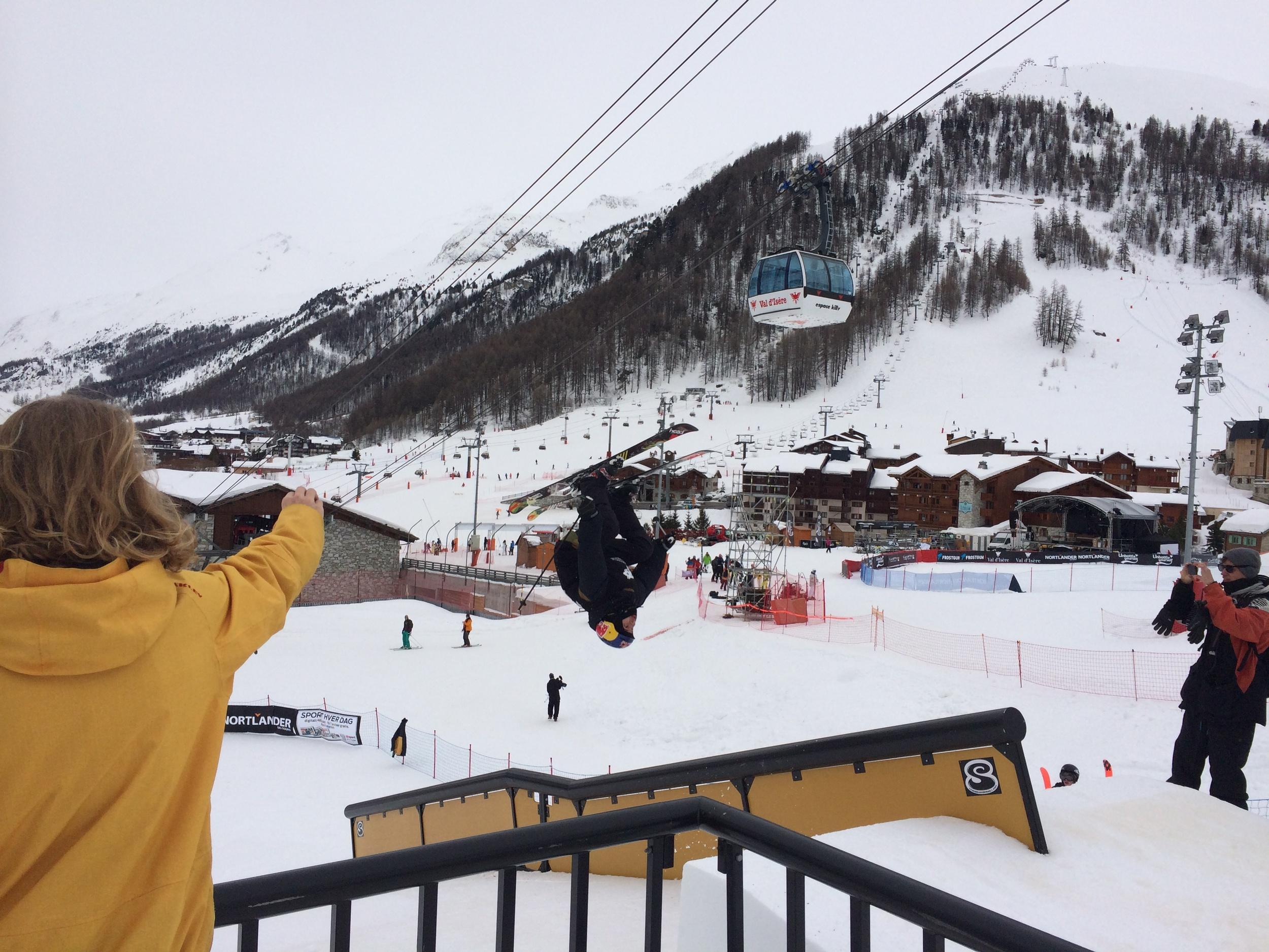 Jesper mid backflip onto the rail