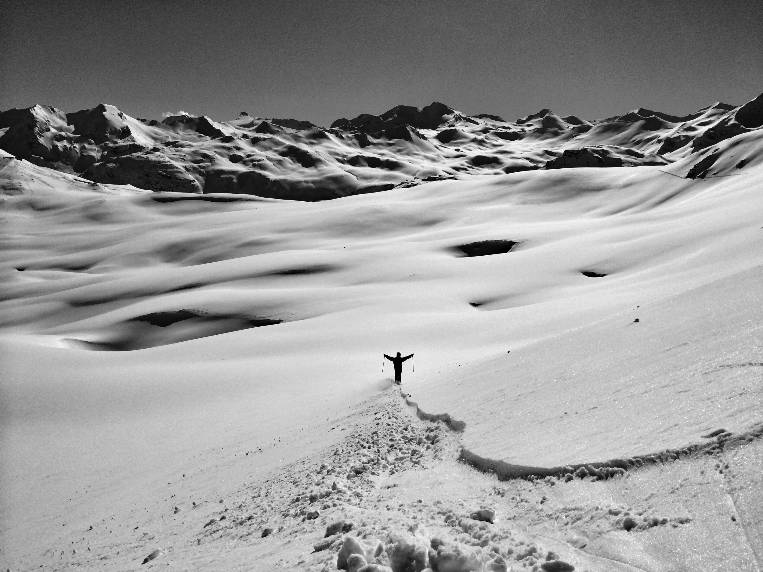 Jesper Tjader enjoying the vast mountains of Val D'Isere