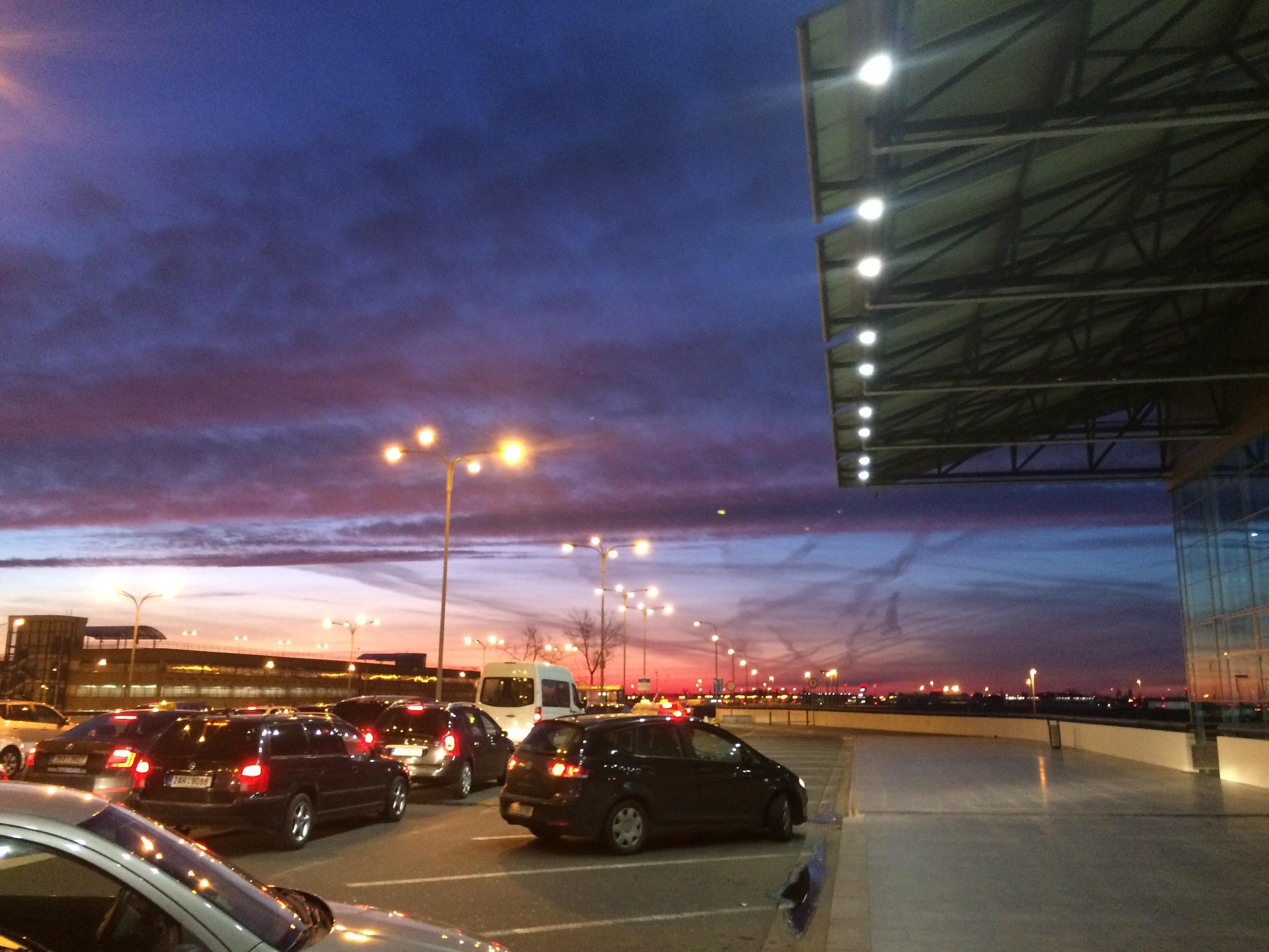 Sunrise at thePrague airport