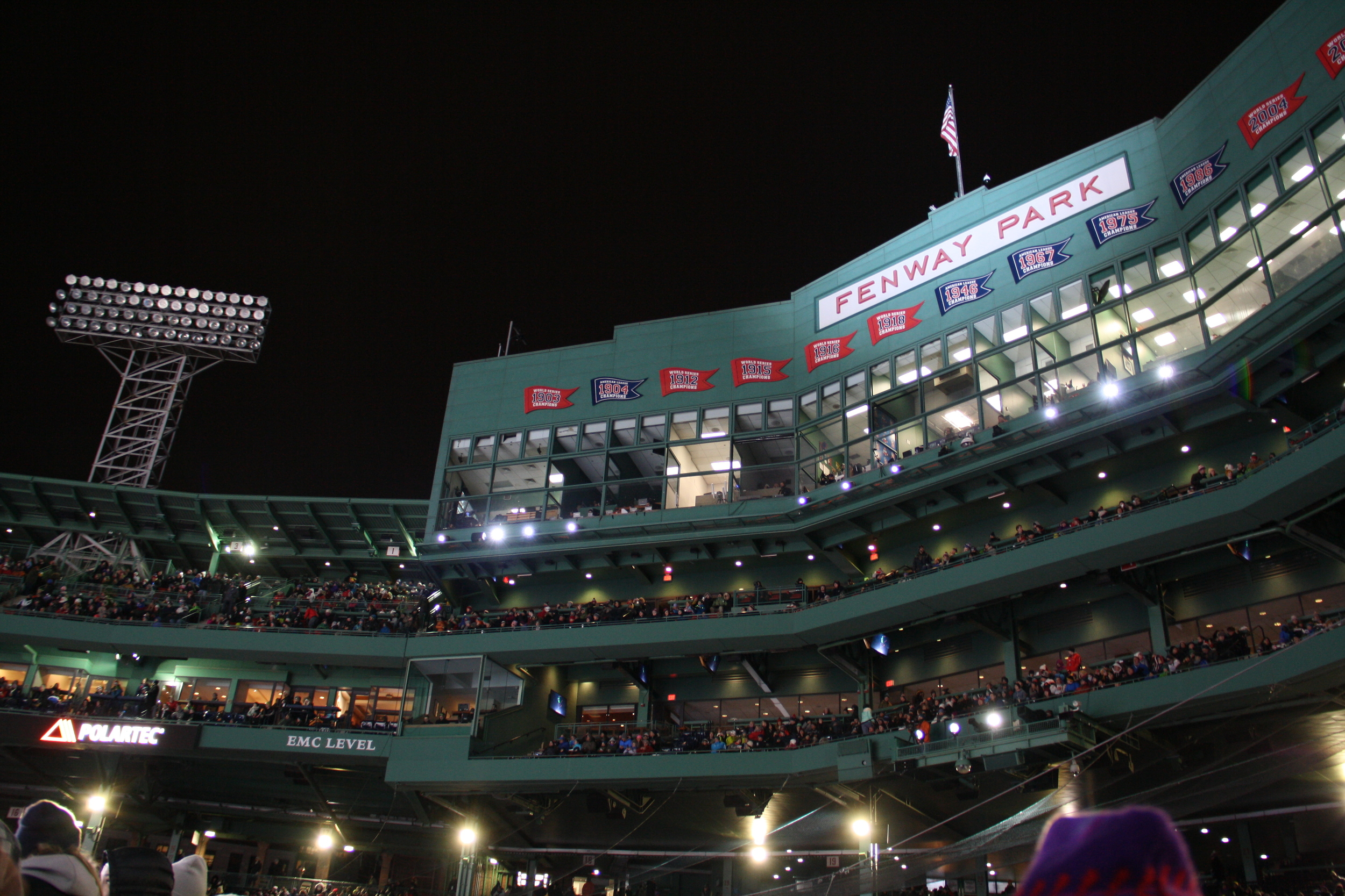 Fenway Park at 140 feet.