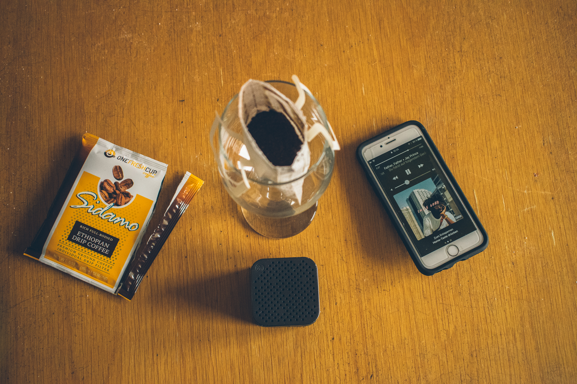 The early morning essentials courtesy of One Fresh Cup & JLab Audio