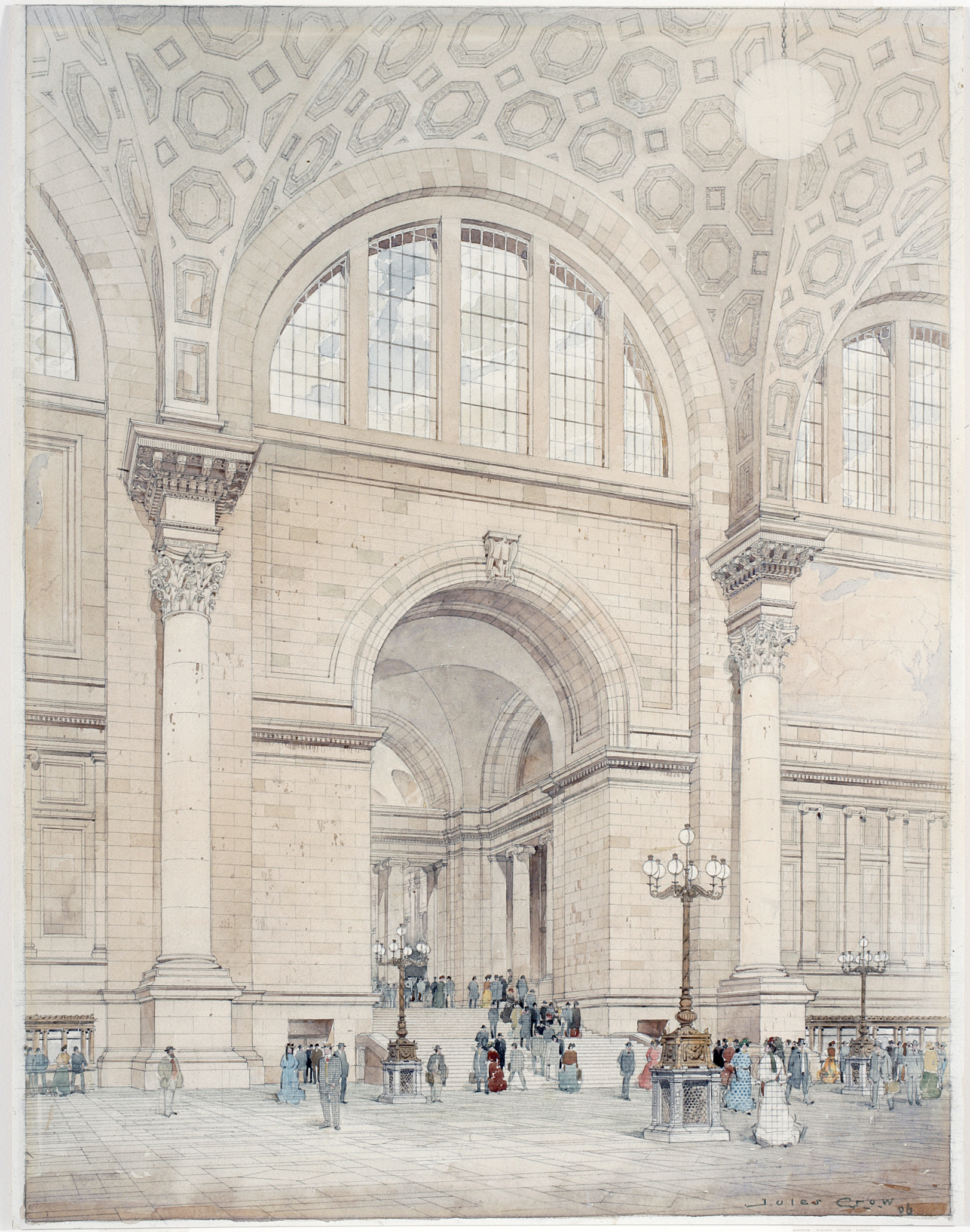 Jules Crow,   Pennsylvania Station Interior  , 1906. Watercolor, Ink and Graphite on Paper. New-York Historical Society, PR042,   Mckim, Mead & White Collection