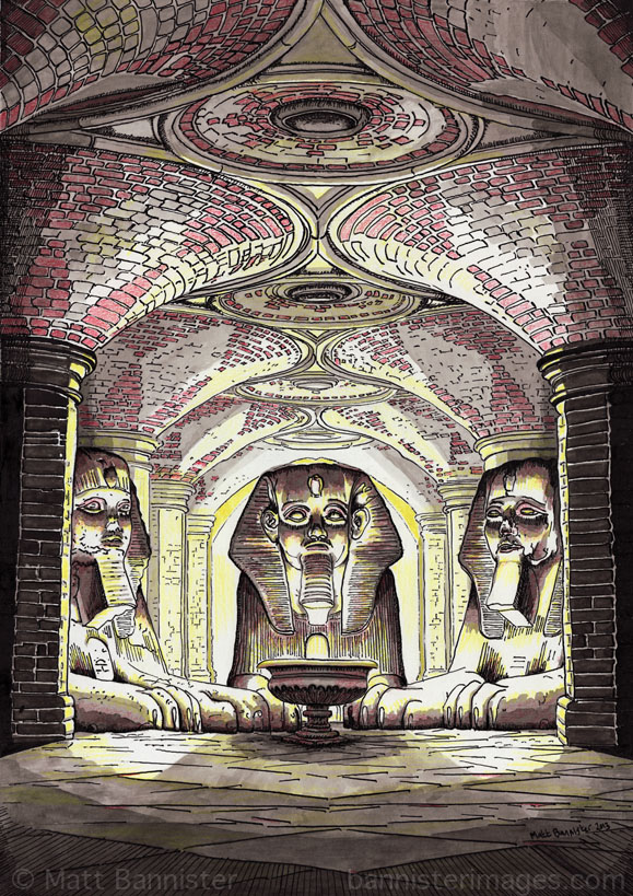 'Subway Sphinxes'. 2013. Ink, coloured pencil.