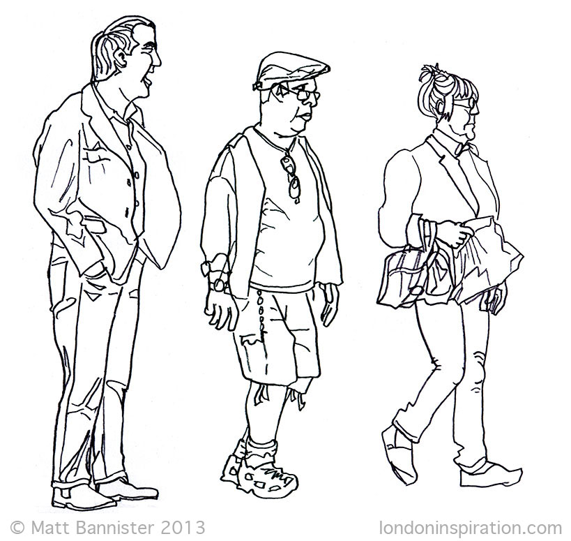 drawing of commuters
