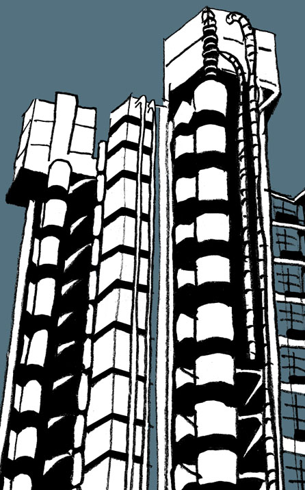 Illustration of The Lloyd's Building for Sinfinimusic.com's Greatest 20th Century Classical Music category. © Universal Music.