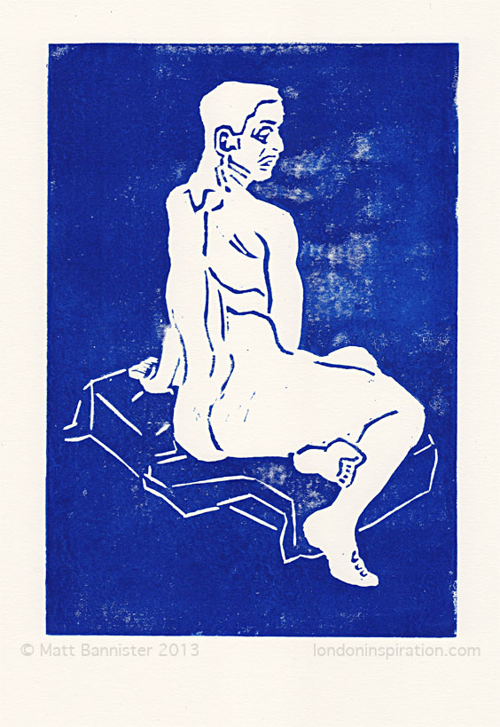 linocut print of a female nude
