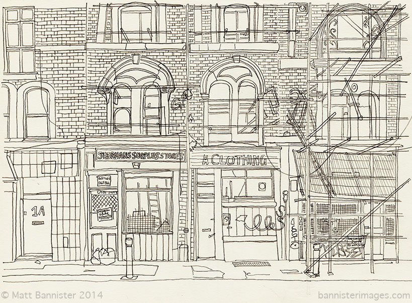 pencil drawing of a street